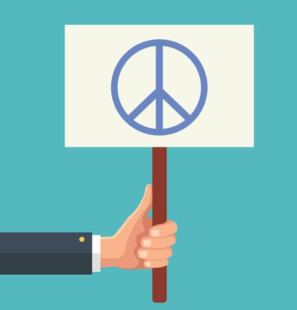 signo de paz: Las manos sostienen la muestra con el signo de la paz. Vector ilustración plana
