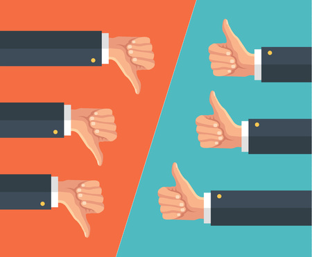 good and bad: Thumbs up and thumbs down. Vector flat illustration
