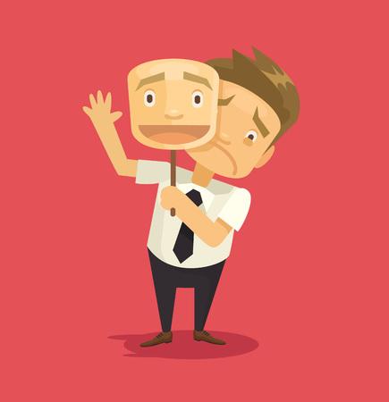 cara sonriente: Falso empresario llevaba m�scara con una sonrisa. Vector ilustraci�n plana Vectores