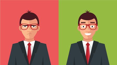 jefe enojado: Hombre feliz y enojado. Vector ilustración plana