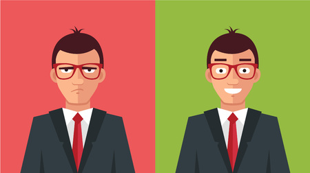 Happy and angry man. Vector flat illustration Vettoriali