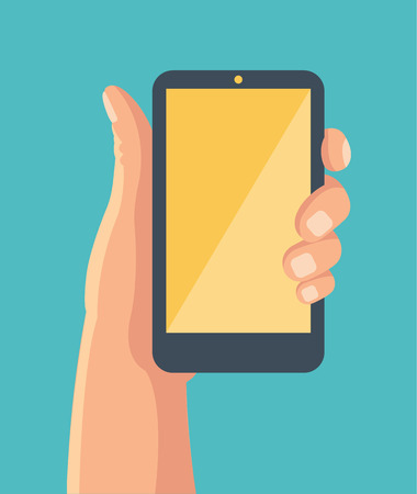 holing: Hand holing smartphone. Vector flat illustration