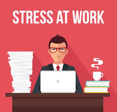 overworking: Stress at work. Vector flat illustration Illustration