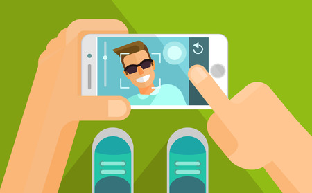 smart phone hand: Taking selfie photo on smart phone. Vector flat illustration