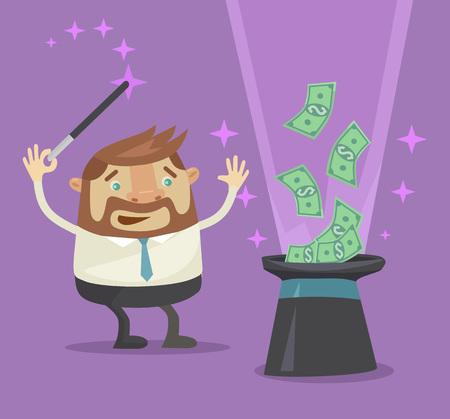 Geld uit de hoed magie. Vector flat illustratie Stock Illustratie