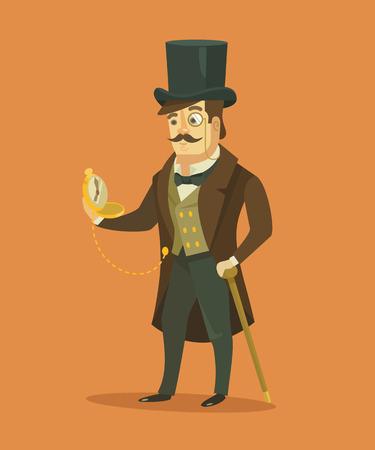 Vintage victorian gentleman. Vector flat illustration