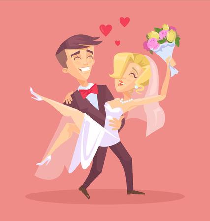 svatba: Šťastný svatební pár. Vektorové ilustrace ploché Ilustrace