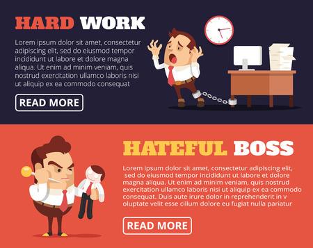conflictos sociales: La gente odia su trabajo. Vector bandera plana ilustración conjunto Vectores