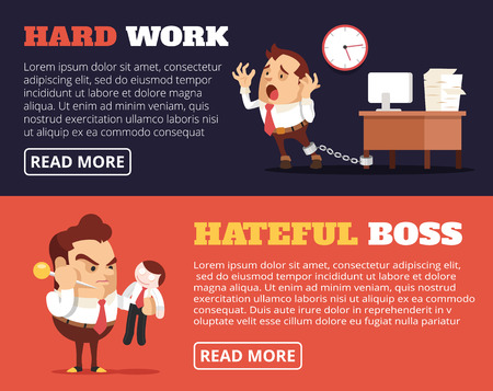 hate: People hate their jobs. Vector flat banner illustration set
