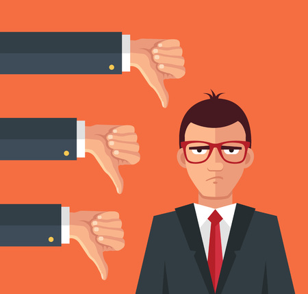 design bad: Angry businessman and many hands with thumbs down. Vector flat illustration