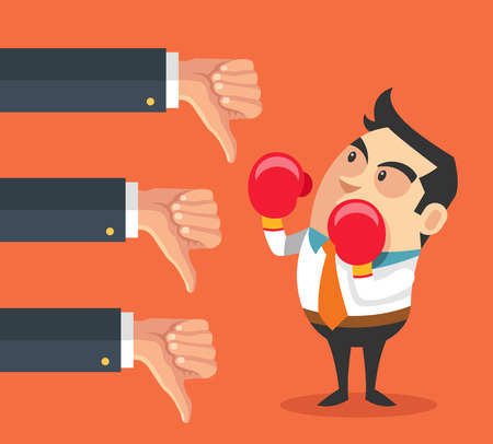 complain: Little businessman and many hands with thumbs down. Vector flat cartoon illustration