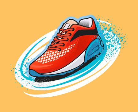 stride: Vector shoes graffiti illustration Illustration