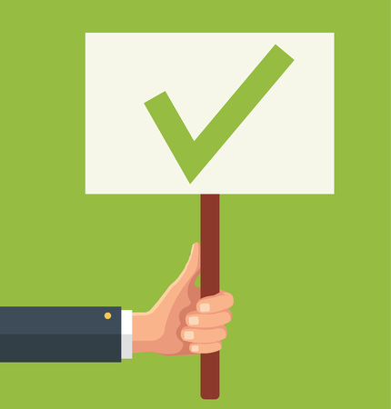 ratification: Hands holds sign with green tick. Vector flat illustration