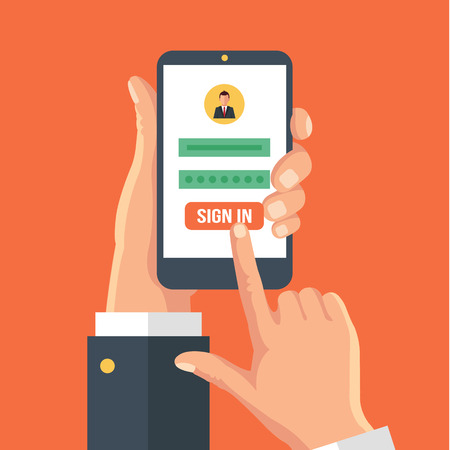 log in: Sign in page on smartphone screen. Vector flat illustration Illustration