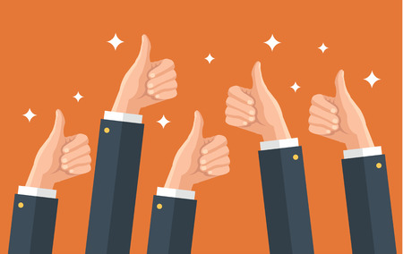 reviewing: Many thumbs up. Social network likes, approval, feedback concept. Vector flat illustration