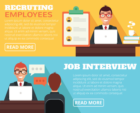 spech bubble: Recruiting employees, job interview. Vector flat illustration Illustration