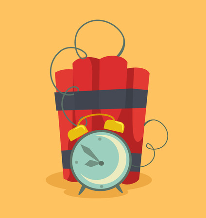 human time bomb: Bomb with clock timer. Vector flat illustration Illustration