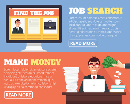 find staff: Job search and human resources. Vector flat cartoon illustration banner set