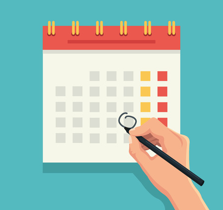 schedule appointment: Hand with pen mark calendar. Vector flat illustration