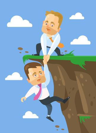 guidance: Businessman helping his friend. Vector flat illustration