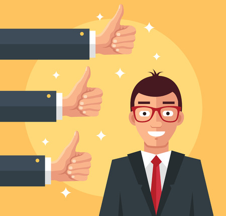 Happy businessman and many hands with thumbs up. Vector flat illustration