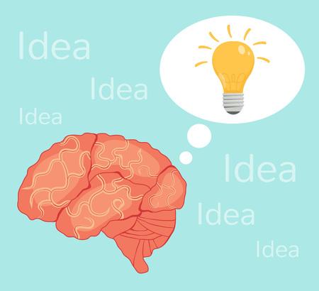 brain illustration: Lightbulb brain idea. Vector flat illustration Illustration