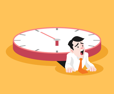 timezone: Businessman under the big clock. Vector flat illustration Illustration