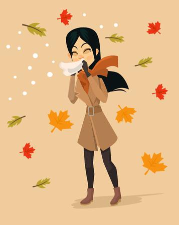 Woman blowing nose. Vector flat cartoon illustration