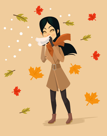 blowing: Woman blowing nose. Vector flat cartoon illustration