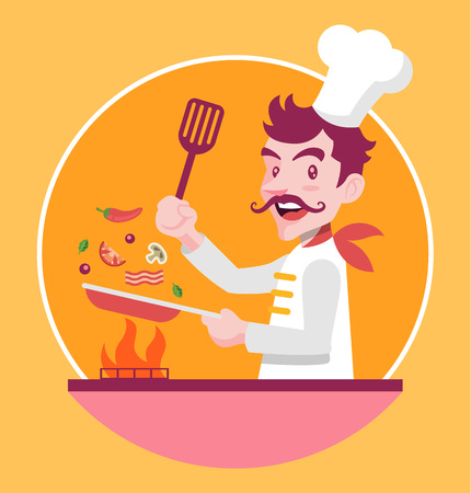 cooking chef: Chef is cooking. Vector flat illustration