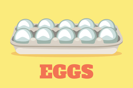 chicken and egg: Vector flat cartoon illustration of eggs