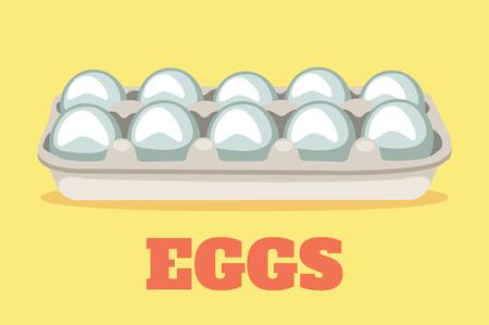 huevo caricatura: Vector ilustraci�n de dibujos animados plana de huevos