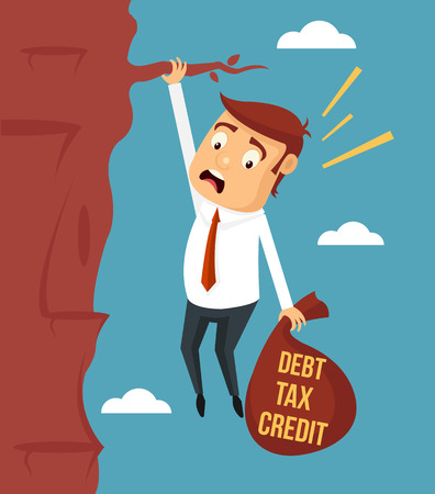 overwhelmed: Businessman try hard to hold on the cliff with debt burden. Vector flat illustration Illustration