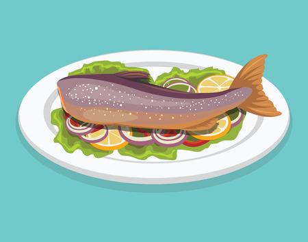 plato de pescado: Platillo de pescado. Ilustración vectorial