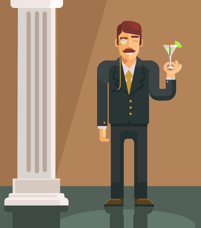 englishman: Vector gentleman flat illustration
