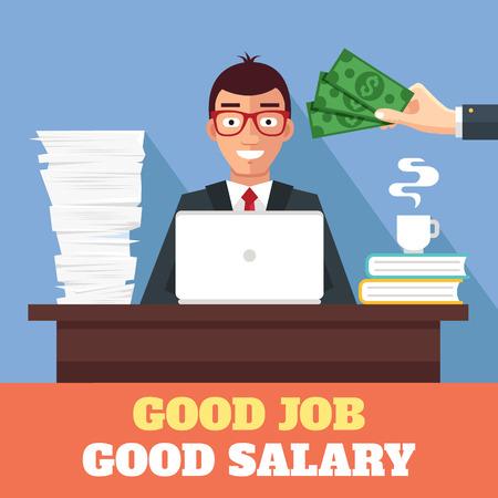 buena suerte: Un buen trabajo y buen sueldo. Vector ilustraci�n plana