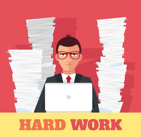 trabajando duro: El estrés en el trabajo. Bandera del vector de la ilustración plana