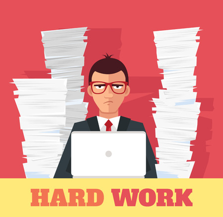 company employee: Stress at work. Vector flat banner illustration Illustration
