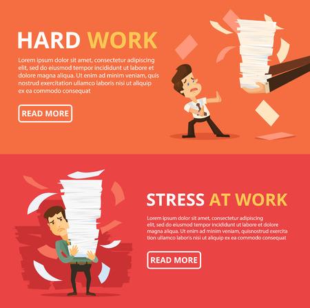 work stress: Many work. Hard work. Vector flat banner illustration set
