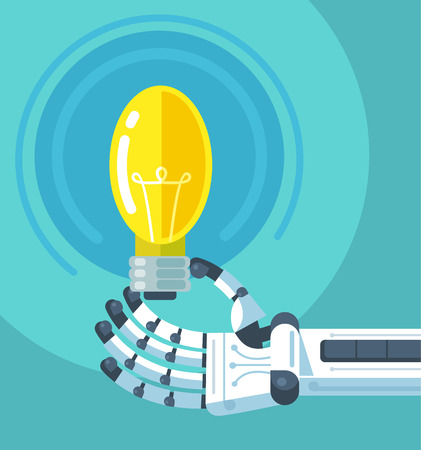 android robot: Robot hand holding light bulb. Vector flat illustration Illustration