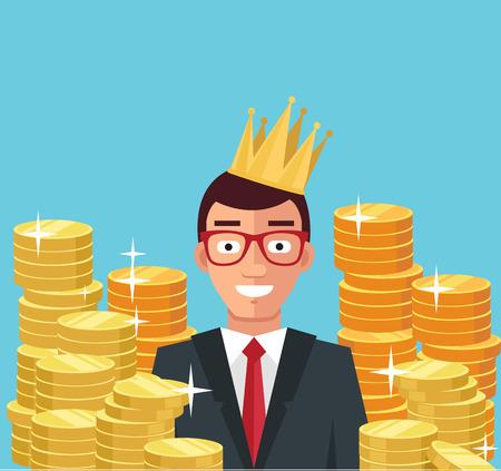 Wealthy businessman. Vector flat illustration
