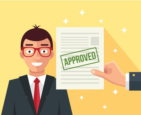 holds: Hand holds approved application. Vector flat illustration