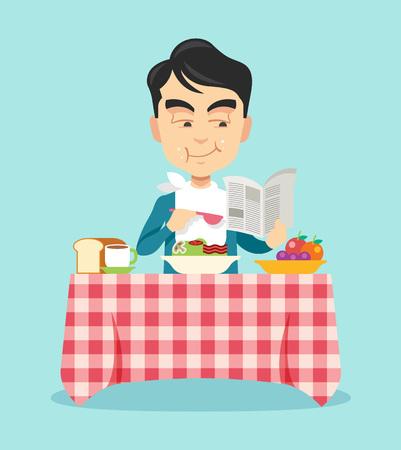 hombre comiendo: Hombre comiendo el desayuno. Vector ilustración plana