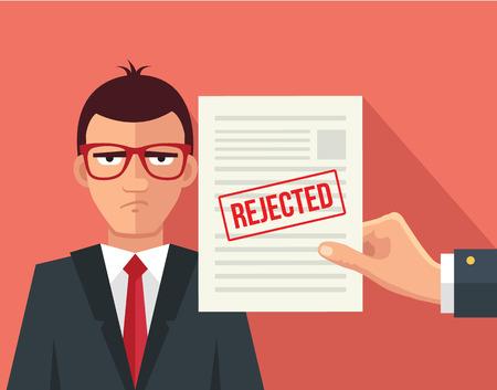 Hand hold rejected paper document. Vector flat illustration Illustration