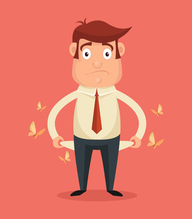 spending: Businessman has no money. Vector flat illustration