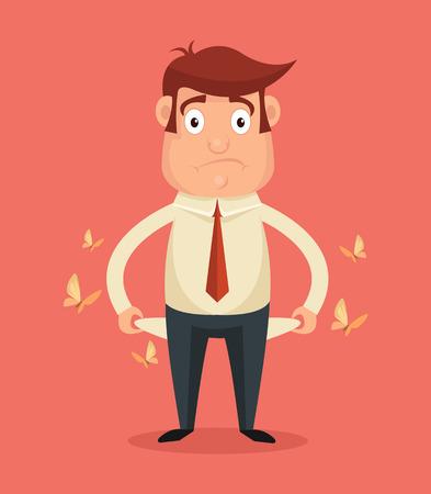 bolsa dinero: El hombre de negocios no tiene dinero. Vector ilustraci�n plana