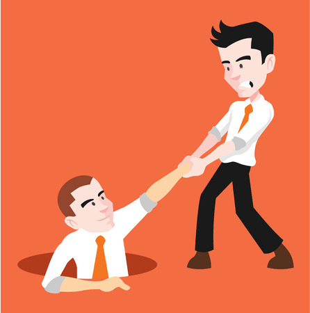 Man helping to his friend. Vector flat illustration