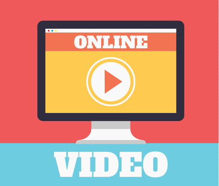Online video. Vector flat illustration