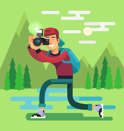 full length portrait: Photographer character. Vector flat illustration Illustration