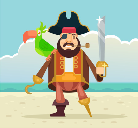 rascal: Pirate captain with parrot. Vector flat illustration Illustration